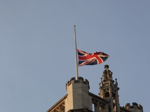 Flag- Half staff. There was an uproar about the flag at half staff over the Saudi king dying.