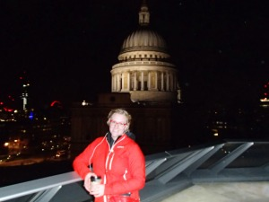 St. Paul's at night. Walking around trying to find the Thames and some guy told me to go the roof of this mall for the view. It was worth it!