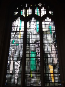 Some of the glass was blown on in St. Margaret's cathedral during WWII this is what they replaced it with.